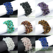 Natural Gemstone Chip Nugget Beaded Fashion Stretchy Bracelet Healing 30mm Wide