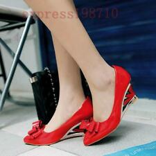 New Women's Wedge Heel Pointy Toe Pumps Shoes Pull On Patent Leather Bowknot YT