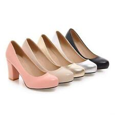 Hot Ladies' Pumps New Shoes Synthetic Leather Platform High Block Heels US Size