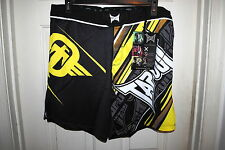 TAPOUT PERFORMANCE MMA FIGHT SHORTS COLOR BLACK AND YELLOW SIZES 32 34 36 NWT