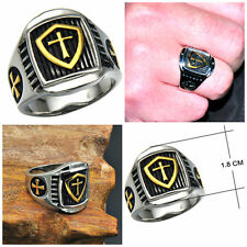 New Men's Stainless Steel Two Tone Signet Ring- Cross, Shield, Templar Size 8-12