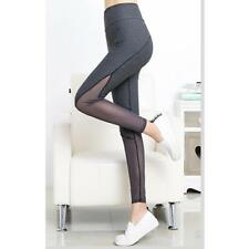 Women Stretch Workout Gym Yoga Leggings Running Fitness Pants Trousers Gray