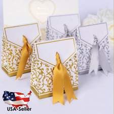 50pcs Candy Boxes With Ribbon Wedding Party Favor Gift Box Silver Gold DIY baby
