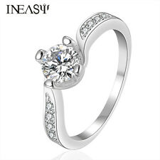 Women Round Silver Plated Jewelry Rings Classes Fashion Party Women Finger