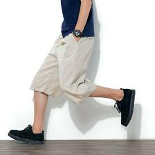 Men's beach shorts loose linen breathable casual harem pants cropped trousers @@