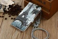 Paris Eiffel Tower Cute Girl Butterfly Whole Cover PU Leather Case Skin For Oppo