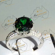 10mm (4ct) 8 Claw Created Green Emerald Anniversary Real 925 Sterlin Silver Ring