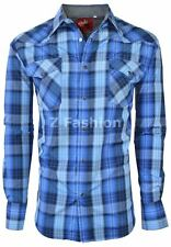 RODEO MEN'S WESTERN COWBOY RODEO PEARL SNAP SHIRT LONG SLEEVE PLAID 410 BLUE