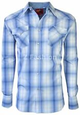 RODEO MEN'S WESTERN COWBOY RODEO PEARL SNAP SHIRT LONG SLEEVE PLAID 404 WHITE