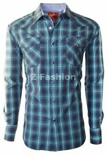 RODEO MEN'S WESTERN COWBOY RODEO PEARL SNAP SHIRT LONG SLEEVE PLAID 402 NAVY