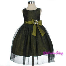 Diamante Shimmery Green Dress Wedding Pageant Occasion Infant Size 9m-3T FG279