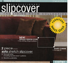 Maytex Carter Stretch 2Pc Slipcovers Sofa, Loveseat, Chair in Burgundy-CLEARANCE