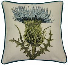 """McAlister Textiles Blue Thistle Woven Tapestry 43cm 17"""" Square Scatter Cushion"""