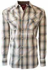 RODEO MEN'S WESTERN COWBOY RODEO PEARL SNAP SHIRT LONG SLEEVE PLAID 412