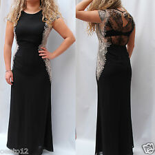 Next Tailored Black Cream Embellished Lace Maxi Long Dress Evening Wedding Gown