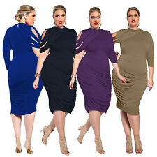 Plus Size Women Bodycon Ruffle Dress Evening Party Cocktail Dresses Clubwear