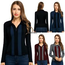 New Women Casual Long Sleeve Patchwork Polo Neck T-Shirt Tops LM01