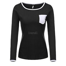 Women Casual Round Neck Long Sleeve Contrast Color T-Shirt Top LM03