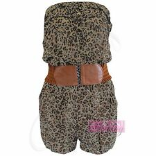 WOMENS LADIES NEW ANIMAL LEAOPARD PRINT PLAYSUIT SHORTS BOOBTUBE FRILL TOPS LOOK
