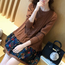 New Korean Sweet Winter Long Fashion Women Floral False Two Pieces Sweater Dress