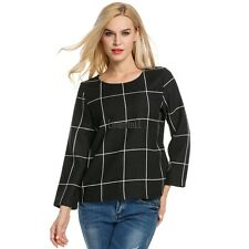 Women Long Sleeve Plaid Blouse Polyester Slim Casual OL Tops LM01