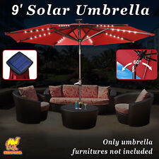 New 8/9' Solar Light Patio Umbrella Tilt Aluminum Sunshade Outdoor Market Garden