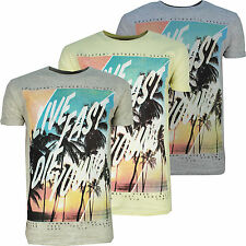 Mens T-Shirt Designer Soulstar Crew Neck Live Fast Die Young Print Fashion Top
