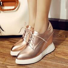 Womens Ankle Boots High Heels Punk Platform Wedges Cow Leather Creepers Shoes YT