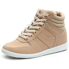 Women's lace ups high tops increase hidden wedge pink-beige fashion sneakers