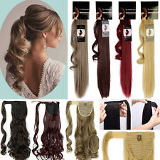 100% Layered Long as Human Clip in Ponytail Hair Extensions Wrap around Ombre A5