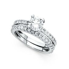 14k Yellow OR White Gold Solitaire CZ Engagement Ring & Wedding Bridal Rings Set