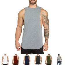 MENS BODYBUILDING GYM MUSCLE COTTON SLEEVLESS T-SHIRT TANK TOP FITNESS SPORT TEE
