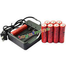 8x 18650 3.7V GTL 5300mAh Li-ion Rechargeable Battery for LED Torch + Charger
