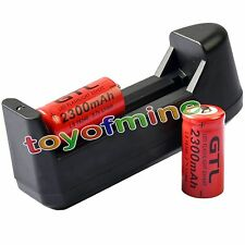 2x 3.7V CR123A 123A CR123 16340 2300mAh Red GTL Rechargeable Battery + Charger