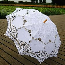 Women Vintage Handmade Parasol Umbrella Cotton Lace Wedding Bridal Accessory New