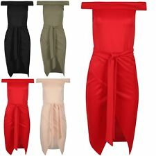 Womens Wrap Over Belted Ladies Off Shoulder Sleeveless Bardot Bodycon Midi Dress