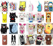 3D Bear/Pig/Mouse/Duck/Monkey/Tiger Soft Silicone Back Case For iPhone Samsung