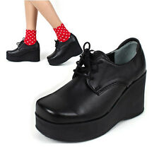 Women's steam punk high platform wedge lace up square ankle oxford black booties