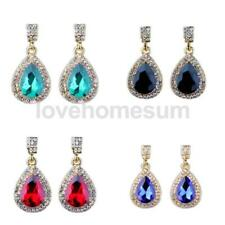 Women Bridal Wedding Party Teardrop Dangle Earrings Gemstones Tear Drop Earrings