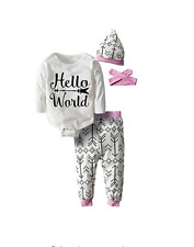 Newborn Baby Girl Hello World Bodysuit Graphic Cute New