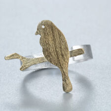 Real 925 Silver Golden Retro Bird Standing On The Branch Open Adjustable Ring
