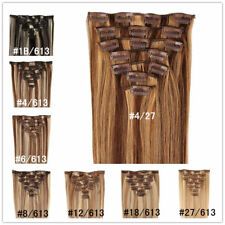 """Mix Colour Straight Full Head Clip In Real Remy Human Hair Extension 70g 16""""-20"""""""