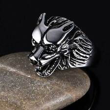 Gothic Silver Wolf Head Silver Mens Ring Titanium Steel Jewelry Biker Band Gift
