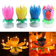Magical 1Pc/10Pcs Cake Topper Lotus Blossom Musical Rotatable Happy Party Candle