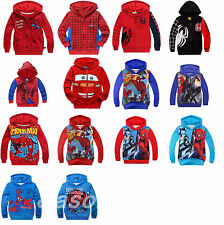 Age 2-8 Years McQueen Spider-Man Cartoon Sweater Kids Toddlers Boys Girls Hoodie