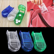 Portable Travel Medicine Pill Compartment Box Case Storage with Cutter Blade OP