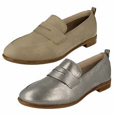 LADIES CLARKS SLIP ON CASUAL LEATHER LOW HEEL SMART LOAFERS SHOES ALANIA BELLE