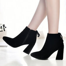 UK All Size New Pointed Side Zip High Heel Lady's Shoes Ankle Women's Boots s508