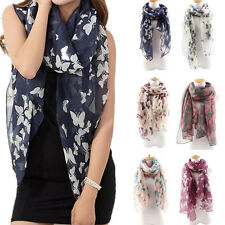 Women Butterfly Print Long Neck Voile Wrap Shawl Pashmina Stole Scarf Affordable