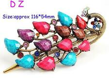 t600153 NEW Fashion Colorful peacock Crystal Rhinestone Hair Clip hairpin claw